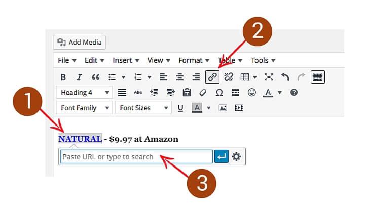add affiliate links to wordpress sites